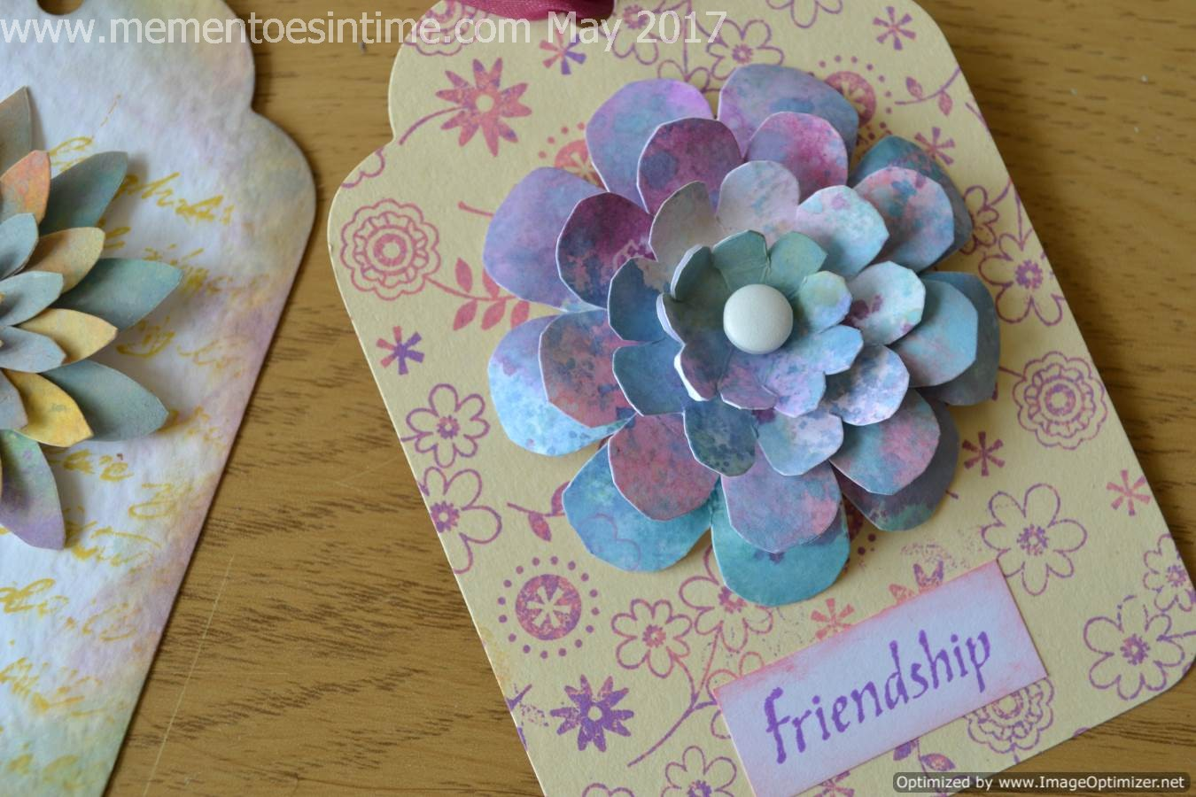 Retro Flower Tag With Layered Flower Template Number 4